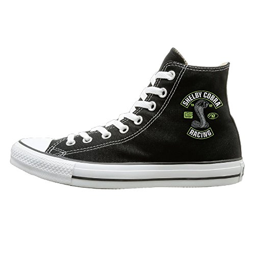 Candyy Shelby Cobra Racing Wear-resisting Unisex Flat Canvas High Top Sneaker 43 Black