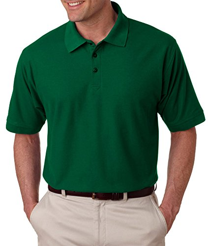 UltraClub Men's Whisper Fit Pique Polo Shirt, Frst Green, X-Large Adult Whisper Pique Polo