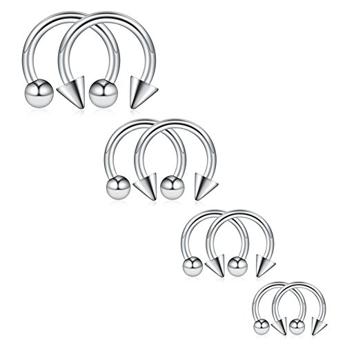 Ruifan 8PCS Surgical Steel CBR Nose Septum Horseshoe Earring Eyebrow Tongue Lip Piercing Ring with Balls & Spikes 14G 8-14mm - Silver ()