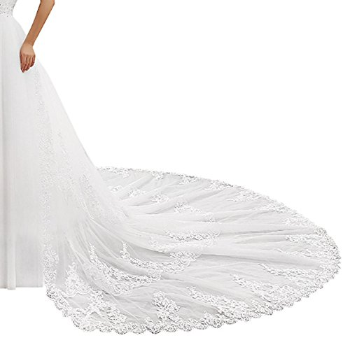 Peapock Princess 1.5M or 2.5M Train with Lace Eage start from waist Detachable Train
