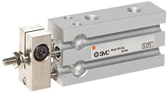 SMC CUK Series Aluminum Air Cylinder with non-Rotating Plate, Compact, Double Acting, Free Mounting, Not Switch Ready, Cushioned