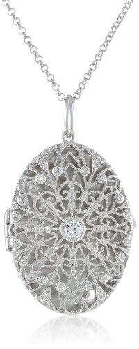 """Platinum Plated Sterling Silver Cubic Zirconia Oval Locket, 21.75"""""""