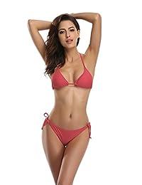 SHEKINI Traje de Baño Bikini de Triángulo Superior Acolchado con Parte Inferior Anudada Lateral para Mujer