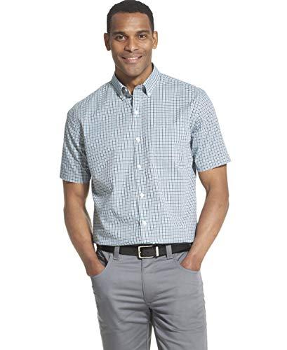 Van Heusen Men's Flex Short Sleeve Button Down Check Shirt, Turquoise Seabed, XX-Large (Men Shirt Dress Xxl)