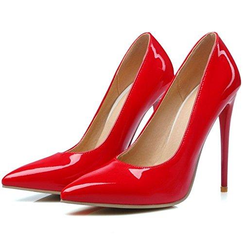 COOLCEPT Mujer Occitental Tacon de Aguja Tacon Puntiagudo Bombas Zapatos Boca Baja Zapatos (37 EU, Suede Red)