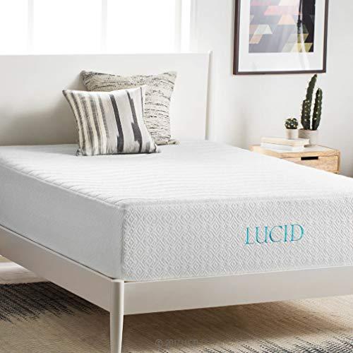 LUCID 14 Inch Medium-Plush Memory Foam Mattress - Ventilated Gel Memory Foam + Bamboo Charcoal Infused Memory Foam - CertiPUR-US Certified - 10-Year U.S. Warranty - Queen