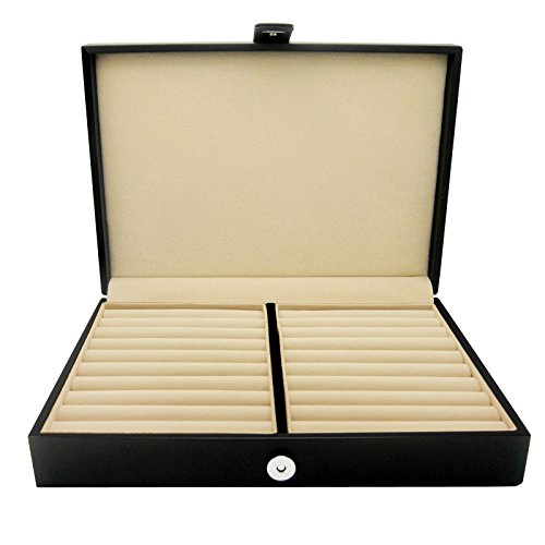 Honey Bear Men/Women's Cufflinks Jewelry Box - Faux Leather Display Case Storage Organizer Black, for Rings Earrings Tie Clips