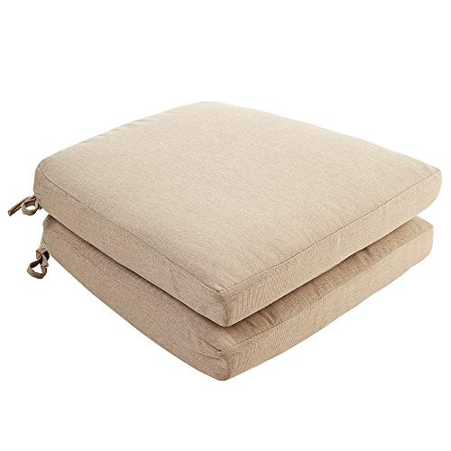 Quality Outdoor Living, Beige Dining Chair Outdoor Replacement Cushion (Pack of 2)
