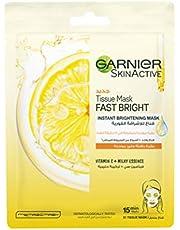 Garnier SkinActive Fast Bright Instant Brightening Tissue Mask with Vitamin C and Milky Essence, 28 gm
