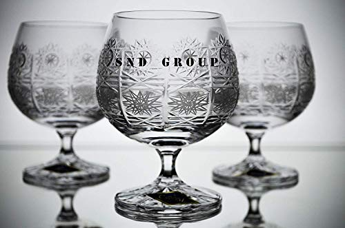 Czech Bohemian Crystal Glass Snifter Glasses 8oz./250 ml. Set of 6 Hand Cut Crystal Glass Cognac Brandy Armagnac Calvados Whiskey Stem Goblets Vintage Lace Design Classic Crystal Glass