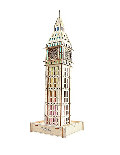 Price comparison product image LOCA Art 22'' The Big Ben Hand-on Decorative Light-up Wood Art 3D Wood Puzzle Ornament USB Cable with LED Light and Bluetooth Speaker Controlled by Phone Computer Laptop Ipad(Size:6.56.522 Inch)