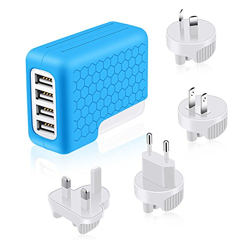 [UL Listed] SAUNORCH Universal Travel Adapter,International Power Adapter W/High Speed 4X 2.4A USB Wall Charger, European Adapter, Plugs Adapters for Europe Travel, Canada, UK, US, AU, Asia-Blue