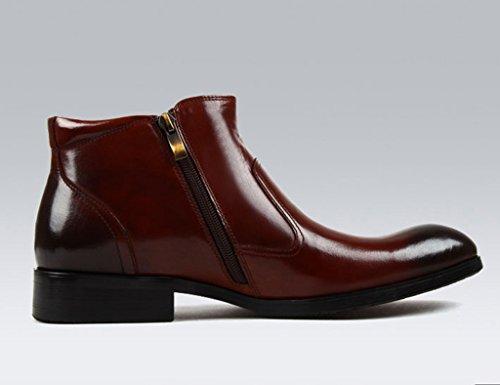 Herren Lederschuhe Herren Lederschuhe Martin Stiefel High-Top-Schuhe wies britischen Stil kurze Stiefel Herrenschuhe ( Farbe : Schwarz , größe : EU44/UK8.5 ) Red-brown