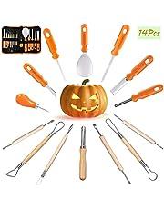 Halloween Pumpkin Carving Kit - 14 Pcs Professional Jack-O-Lanterns Pumpkin Cutting Supplies Tools Kit - Easily Sculpting DIY Halloween with Carrying Case - Carving Knife for Halloween Decoration