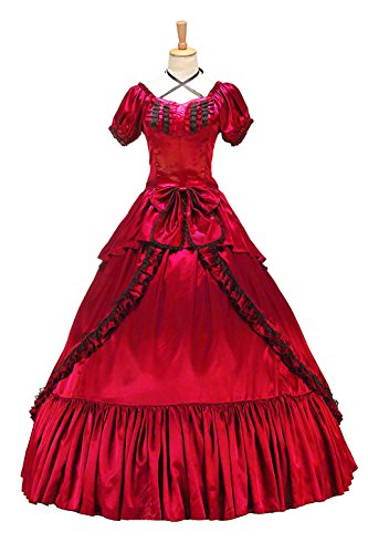 XOMO Victorian Southern Belle Gothic Dress Ball Gown Halloween Prom Lolita Costume Red L Southern Belle Ball Gown