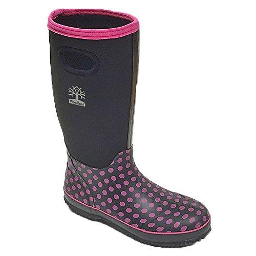 Woodland Womens/Ladies Pull On Polka Dot Wellington Boots Black/Fuchsia uLUdK9J4B
