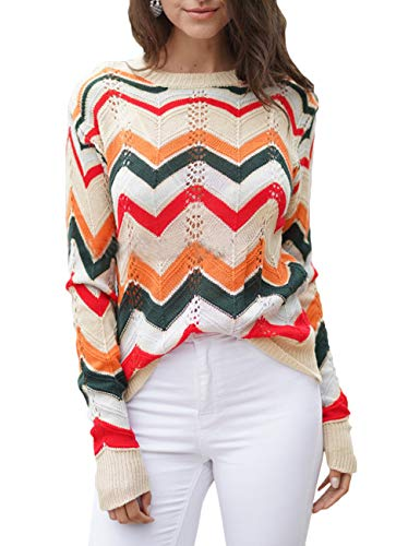 Women's O Neck Long Sleeve Striped Knitwear
