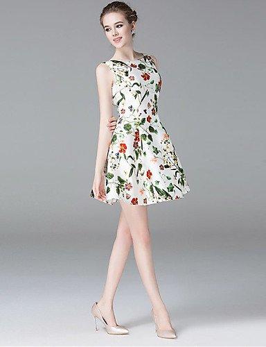 PU&PU Robe Aux femmes Trapèze Simple,Fleur Col Arrondi Au dessus du genou Polyester , xl