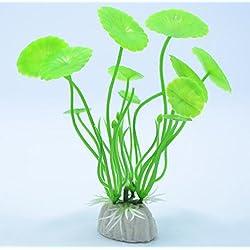 3pcs/ Plastic Lotus leaf Grass Plants Artificial Aquarium Decorations Plants Fish Tank Grass Flower Ornament Decor (Green)