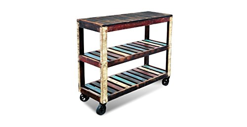 Rustic Bookcase Cabinet (Crafters and Weavers Rustic Distressed Reclaimed Wood Cart / Bookcase / Sideboard / Multi Use)