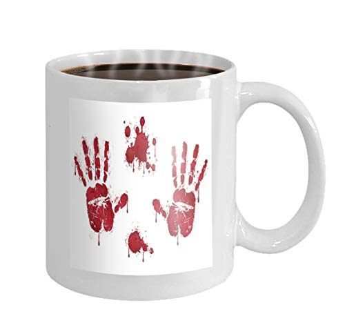 Coffee Mug Funny Gifts Unique Ceramic Coffee Mug Tea Cup White 11 Oz bloody red horror handprints blood drops spooky design elements design halloween