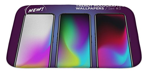 Gear New Memory Foam Bath Rug, Trendy Holographic Wallpaper Collection Colorful Neon On Device Display Set Of, 34x21, 6580702GN