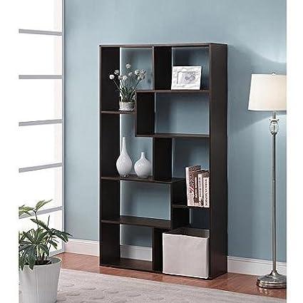 Mainstay Home 8 Shelf White Narrow Corner Bookcase Espresso