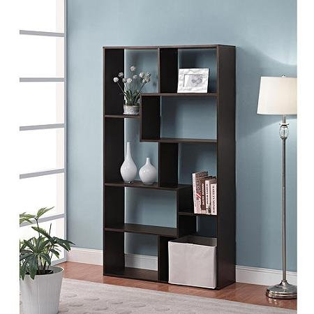 Mainstay Home 8-Shelf White Narrow Corner Bookcase (Espresso)