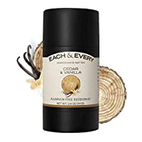 Each & Every Natural Aluminum-Free Deodorant for Sensitive Skin with Essential Oils, Plant-Based Packaging, Cedar & Vanilla, 2.5 Oz.