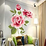 BaoST DIY Home Decoration Removable Rose Flower Wall Stickers Self - Adhesive Peel and Stick Wall Decal Mural Stickers for Kids Nursery Bedroom Living Room TV Background M