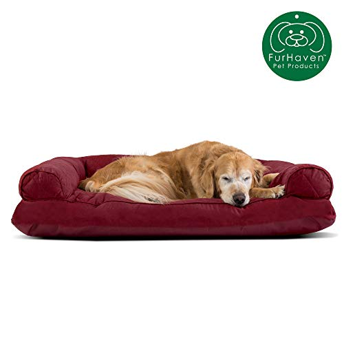 Furhaven Pet Dog Ultra Bed Push Plush Faux Fur & Suede Pillow