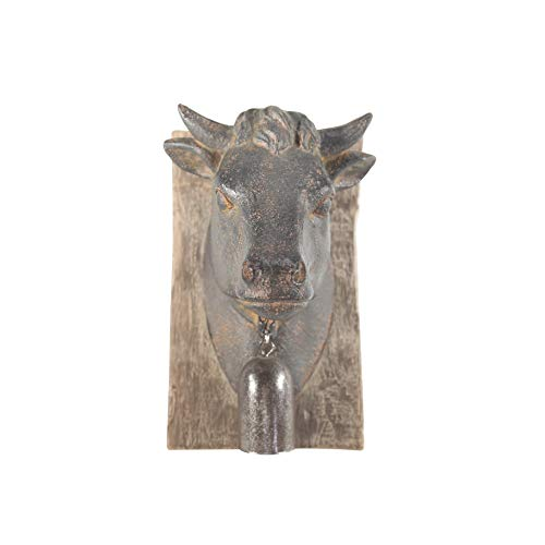 Sagebrook Home 11140 Cow Head W/Bell Wall Plaque, Rust Polyresin, 6 x 4.5 x 7.5 ()