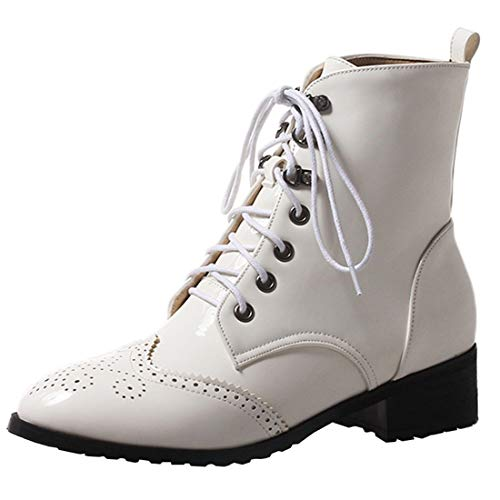 Low Boots Oxford Vitalo Ankle White Block Brogue Shoes Heel up Womens Patent Lace aggqxR1