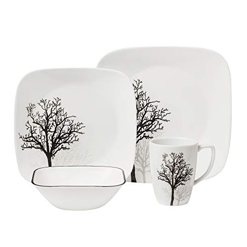Corelle Square 16-Piece Dinnerware Set, Timber Shadows,