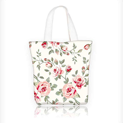 Reusable Cotton Canvas Zipper bag Wallpaper with roses Tote Laptop Beach Handbags W11xH11xD3 INCH
