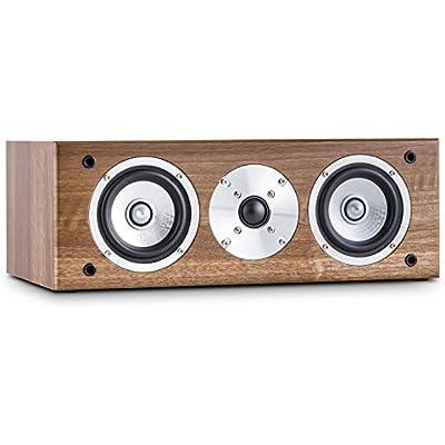 AUNA Line 501-CS-WN Passive Centre Hifi Speaker  60W RMS  Midrange Drivers Gold Plated Speaker Connections  Walnut