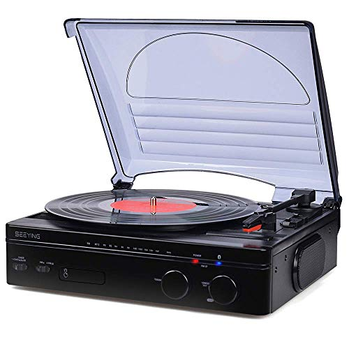 Record Player Turntable for Vinyl Records Bluetooth Vinyl Record Player with Speakers Support FM Stereo Radio Line Output Headphone Jack Natural Wood Design 2020 Upgraded