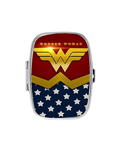 Diy Pill Costume (wonder woman costume Image Custom Stainless Steel Pill Case Box Holder wallet)