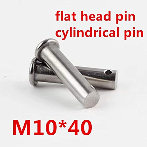 Ochoos 10pcs/lot M1040 10mm M10 304 Stainless Steel Clevis Pin,Flat Head Cylindrical pin with Hole