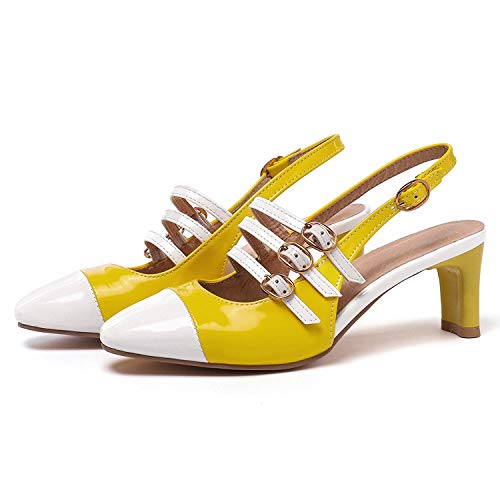Hot Heaven Patent Leather Gladiator Sandals Sexy Slingbacks Buckle Summer Rome Shoes Black White Big Size 34-48,Yellow,13 ()