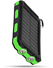 SOONHUA 10000mAh Portable Phone Solar Charger, Fast Charge Solar Mobile Power Bank Case DIY Kit with Compass LED Flashlight Carabiner Type-C for Mobile Phone
