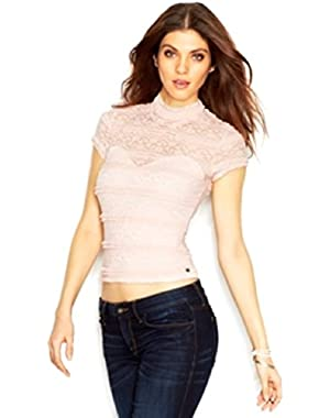 Guess Cap-Sleeve Mock-Turtleneck Lace-Overlay Top  M
