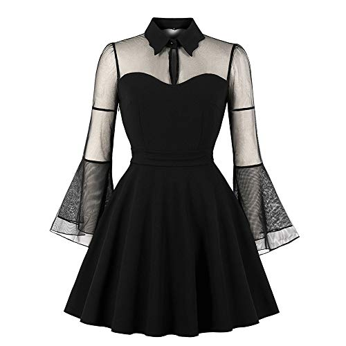 (Women's Evening Party Dress,NEWONESUN Ladies Long Flare Sleeve Punk Vintage Party Gothic Rockabilly Swing Mini Dresses)
