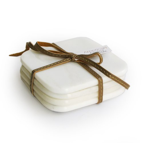 American Atelier Marble Coasters with Ribbon, White, Set of 4 (White Coasters)