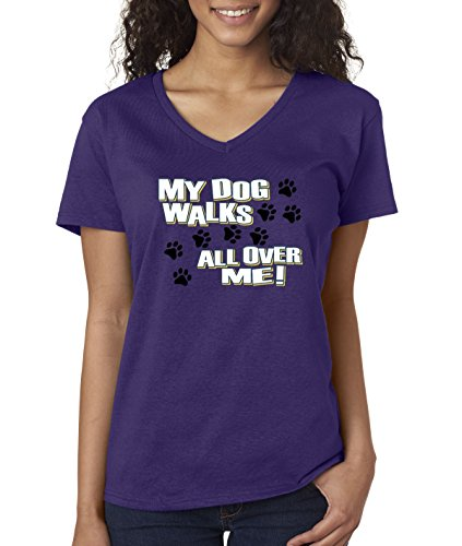 allwitty 1006 - Women's V-Neck T-Shirt My Dog Walks All Over Me Paw Prints XL (Purple Paw Print Hoodie)