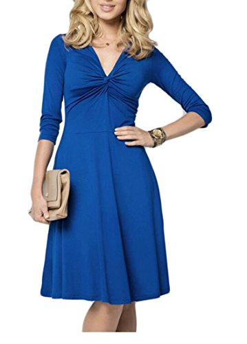 Mini Long Blue Solid Color Fit Womens Front A Neck Tie Jaycargogo Deep Slim Sleeve V Line Dress 4gwn6