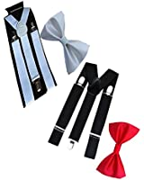 WHOLESOME DEAL unisex red and black stretchable suspender with bow combo(susbw001)