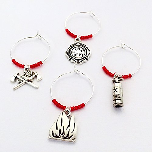 Fire Extinguisher Charm - Firefighter themed Wine Charms, wine gift for fire fighter. Includes Helmet and Axe, Fire Dept Emblem, Flame, Fire Extinguisher, and Hydrant. Set of 5. RED BEADS.