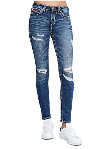 Religion True Skinny (True Religion Women's Curvy Skinny Big T Jeans in Magnetic Lure w/Rips and Flaps (31))