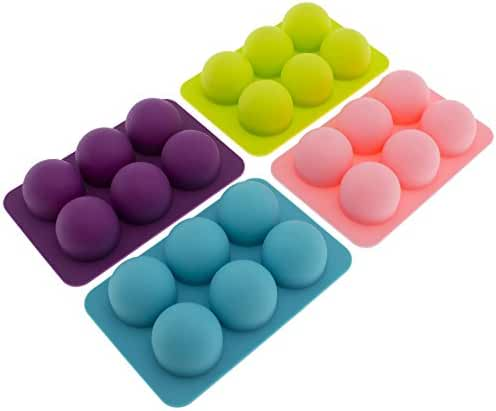 Freshware CB-650 Silicone 6-Cavity Round Chocolate Truffle, Candy and Gummy Mold, Pack of 4